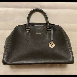 Furla black leather large bowler bag